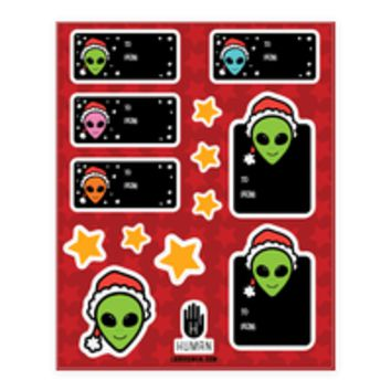 ALIEN SANTA GIFT TAG STICKERS