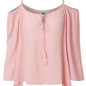 LE3NO Womens 3/4 Sleeve Cut Out Shoulder Tassel Tie Blouse Top with Adjustable Straps