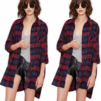 Fashion 2016 Trending Fashion Retro Vintage Women Plaid Button Shirt Blouse _ 10282