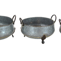 Benzara Attractively Styled Metal Footed Planters, Set Of 3