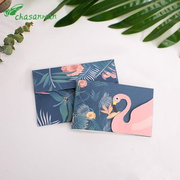 New 5pcs Flamingo Wedding Invitations Birthday Blessing Card with Envelope Baby Shower Wedding Decoration Festival Supplies.b