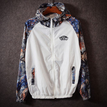 Fashion Unisex Lover's Vans Sports Coat Windbreaker Eye print White