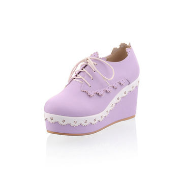 Spring Lace-up Platform Wedge Princess Girl Shoes Lolita 8cm High Heel Sweet Lace Trim Casual Shoes