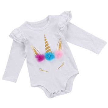 Baby Girls Floral Unicorn Polka Dot Long Sleeve Romper Clothes One-piece