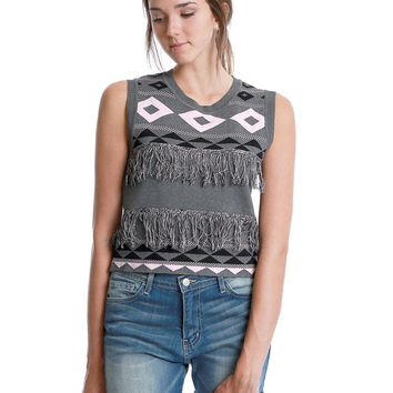 Guess What Knit Crop Top - Gray