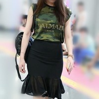 """Balmain"" Women Fashion Letter Camouflage Vest Buttons Decoration Sleeveless  Cotton T-shirt Casual Tops"