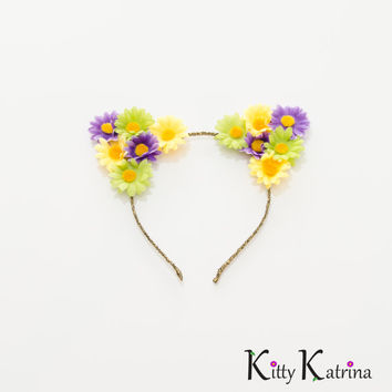 Mardi Gras Cat Ear Headband, Floral Cat Ears, Mardi Gras Dress, Mardi Gras Costume, Holiday Clothes, Festival Wear, Rave Costume, Rave Wear