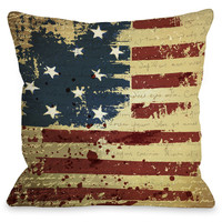 """""""Vintage American Flag"""" Indoor Throw Pillow by OneBellaCasa, 16""""x16"""""""