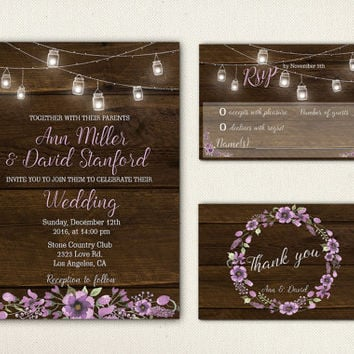 String Lights Mason Jar Wedding Invitation Printable Wedding Suite Wood Rustic Wedding Invite Set Digital Chic Purple Flowers Wreath - WS011