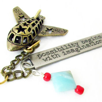 Inspirational Keychain, Airplane Keychain, Gift for Dad, Air Force Keychain