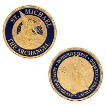 Saint Michael The Archangel Silver Plated Commemorative