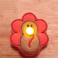 Turkey battery operated light up tealight pin embroidered, thanksgiving, autumn, fall, holiday, brooch, jewelry, accessories, tea light