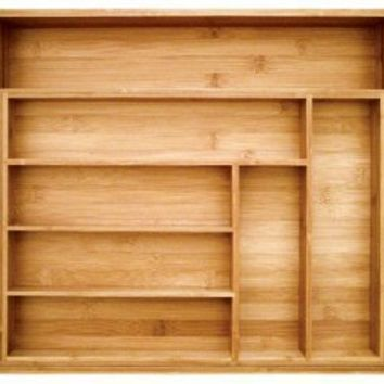 Totally Bamboo Expandable Utility Drawer Organizer, 8 Compartments, 2 with Adjustable Dimensions, Beautiful and Durable Bamboo
