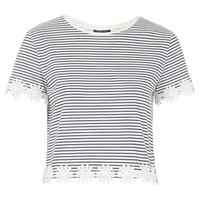 Striped Daisy Trim Tee - Topshop