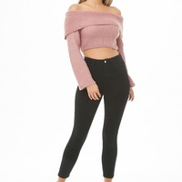 Flounce Sweater-Knit Crop Top