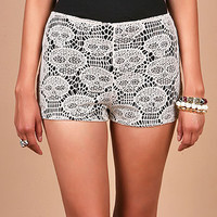 Screaming Skull Shorts - Lace Shorts at Pinkice.com