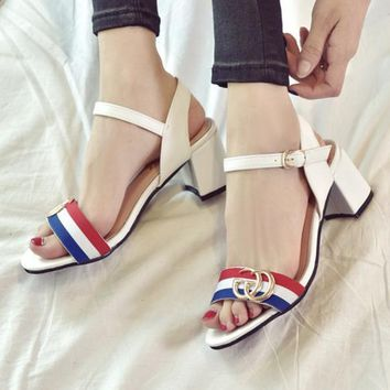 Gucci Fashion Red Army Green Stripe Summer Women Open-Toed Contracted Heel-Strap Sandals White