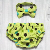 green with brown and teal dots Diaper Cover and Bow Tie Set. Birthday, Cake Smash, Church, Ring Bearer Baby.