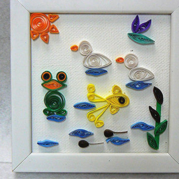 Hand Quilled Paper Art Framed Picture, The Pond, 4 x 4 Canvas, Hand Made