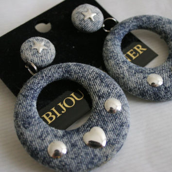 Amazing Acid wash denim covered dangle hoop earrings Bijoux