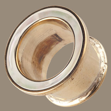 Brass Plug with Mother of Pearl Inlay in sizes 6mm , 10mm , 12mm , 14mm , 16mm , 18mm and 20mm