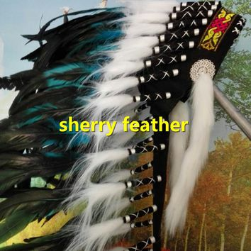 28inch turquoise Indian Feather headdress chief indian warbonnet dancewear halloween costume handmade feather hat