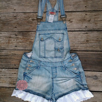 Juniors sz 13 Distressed Blue Jean Overall Shorts with Scalloped Lace Ruffle and Crocheted Cotton Doily - Girls Toddlers - The Hippie Patch