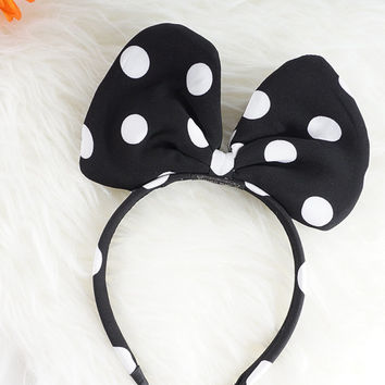 Minnie Mouse Bow Headband, Disneyland Headband, Disney Large Polka Dot Bow Headband, Black and White Spotted Big Bow Headband