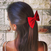 Big dramatic RED BOW  hair bow SN010 by colordrop on Etsy