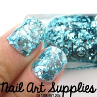 BACK IN STOCK!! Blue Mermaid - Turquoise Cyan Blue Glitter Nail Polish Laquer 9.8ml from nailartsupplies