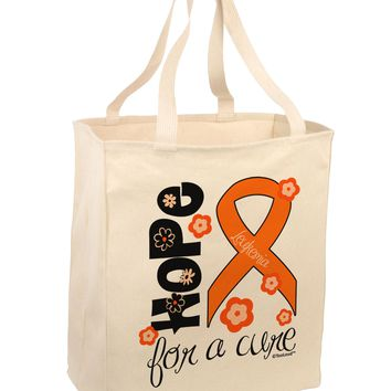 Hope for a Cure - Orange Ribbon Leukemia - Flowers Large Grocery Tote Bag