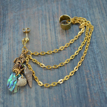 single mermaid  ear cuff chained mermaid ear cuff abalone shells in boho gypsy hippie hipster  beach  resort and fantasy style