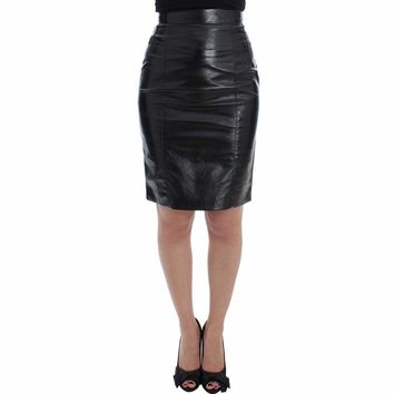 Dolce & Gabbana Black Leather Above Knee Pencil Skirt