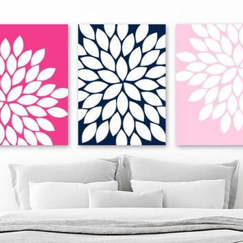 NAVY PINK Flower Wall Art, Navy Pink Girl Bedroom Wall Decor, CANVAS or Prints, Navy Pink Bathroom Decor, Navy Pink Nursery Decor, Set of 3