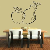 Wall Decor Vinyl Decal Sticker Home Interior Design Food Fruits Pear Apple Cafe Kitchen Living Room Bedroom Kids Room Decor Kg915