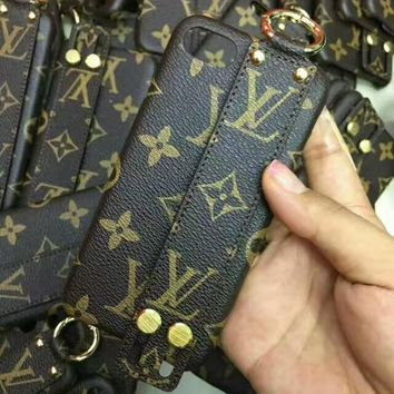 LV Louis Vuitton hanging neck rope anti-fall iPhoneX phone case F-OF-SJK