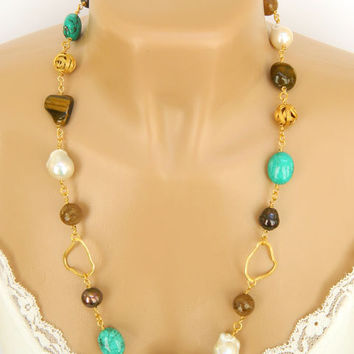 Beaded Gemstone and Pearl Necklace Handcrafted Gold Long Chunky