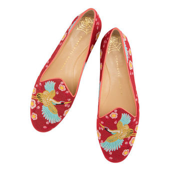 Charlotte Olympia Women's Designer Flat Shoes | Charlotte Olympia - CHERRY BLOSSOM SLIPPER