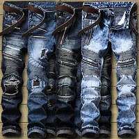 Biker Jeans Men's Distressed Stretch Ripped