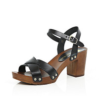 Black leather wooden heel clogs - heeled sandals - shoes / boots - women