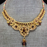 India Kundan Rhinestone Necklace Gold Plated Brown Tan Glass Stones Adjustable Length Vintage Jewelry 518ms
