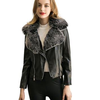 Gray Faux Fur Lapel PU Biker Jacket