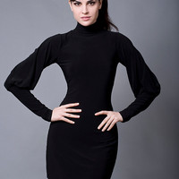 Black Turtleneck Cocktail Dress with Long Bishop Sleeves-Made to Order