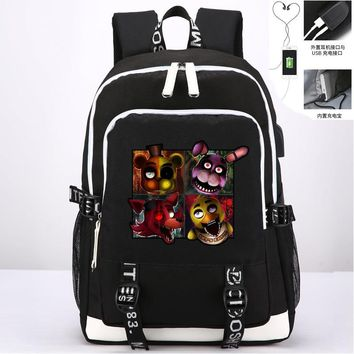 At Freddy Bonnie Foxy Chica Bear Book bag Rucksack Student School Bag For Boys Girls Travel With USB Port Charging