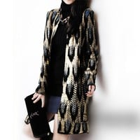 Autumn New The peacock printing Knitting Long Cardigan Ladies Sweater Women Coat Outwear Snake Pattern Bronzing Tops