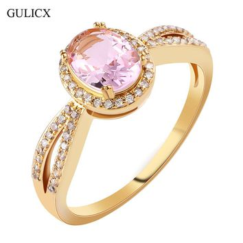 GULICX Fashion Size 8 Halo Ladies Finger Band Gold-color Ring for Women Oval Pink Crystal CZ Zircon Engagement Jewelry R337