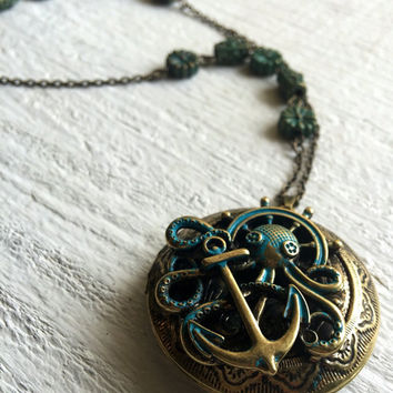 Antique Gold Octopus Locket--Beads and Chain--Disneybound as Pirates