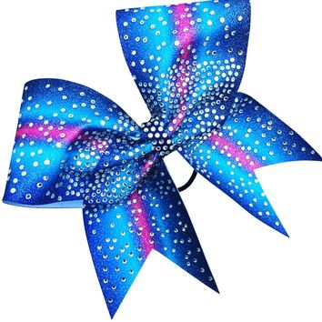 Ombre glitter bow with rhinestones. Available in any color combination.