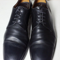 Prada Black Leather Derby Cape Toe Dress Shoes Men's Size 9.5