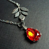 Scarlet Sensations- Silver vintage siam ruby glass jewel necklace | Amber - Jewelry on ArtFire